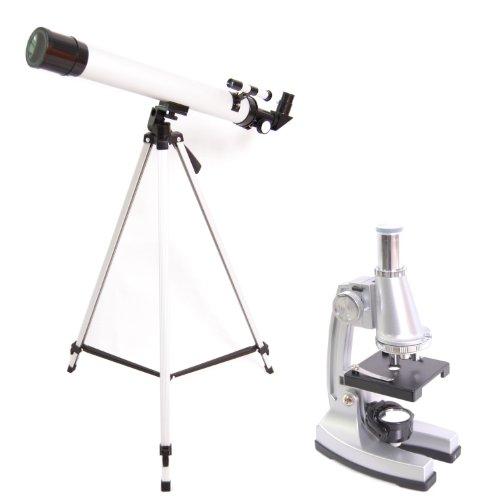 DynaSun TWMP0406 Set Telescopio e Microscopio Ingrandimenti 100x, 400x, 900x Completo di Cavalletto, Pinzetta, Spatula, Bisturi e tanti altri Accessori