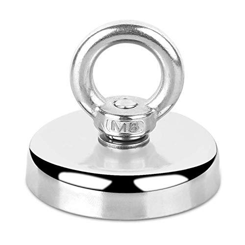 HHOOMY Neodym Magnete Angeln Magnete N52 Super Starker Magnet mit Versenktem Loch und Augenschraube 60mm Durchmesser 330LBS(150KG) Zugkraft Topfmagnet Groß für Magnetfischen und Bergung im Fluss -