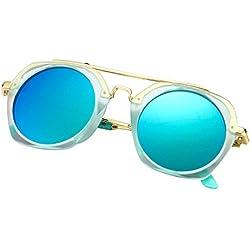 Polarisiert Retro Rund Sonnenbrille für Kinder Mädchen Jungen Rund Pilotenbrille Blau Grün Rose Silber Verspiegelt UV Polarisiert Gläser By Alxcio