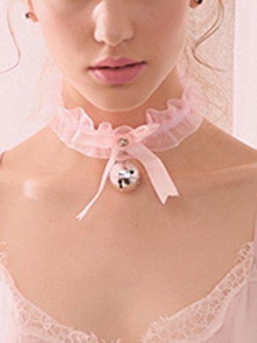 fxmimio Spitze Lolita Schwarz Schleife Bell Choker Halsband Halskette für Frauen Mädchen Halloween Zubehör