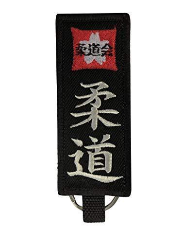 Budodrake - Llavero con cinturón Negro y Bordado de Judo japonés para Deportistas de Lucha Judoka