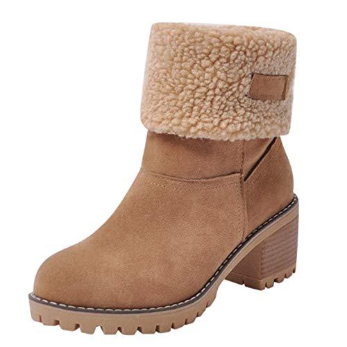 Zapatillas para Mujer by BaZhaHei, Zapatos de Invierno de Mujer de Las señoras Botas de algodón de la flocada Botas de Nieve de Cortas de Gamuza gastadas más Terciopelo Botas Cortas Calientes