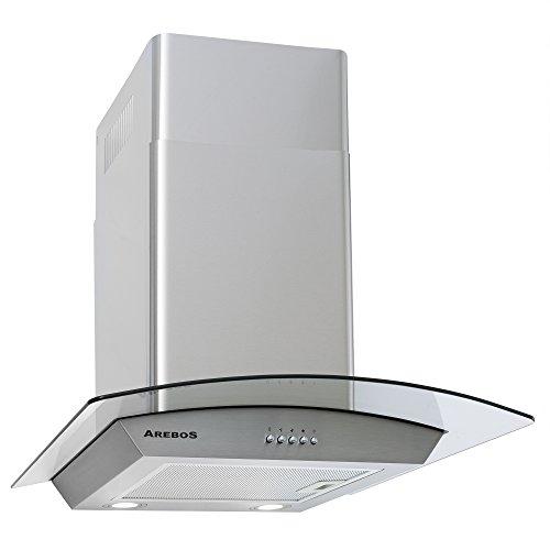 Arebos Dunstabzugshaube / 60 cm/Silber/Abluft/optional Umluft/zusätzliches Licht/Austauschbarer Aluminium-Fettfilter/Energieklasse B/Sehr Leise