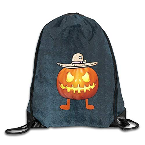 eutel/Sportbeutel, Art Halloween Pumpkin in The Hat Gym Sport Bag Drawstring Bag Backpack Draw Cord Bag for Men Women Gym,Sport,Yoga,Dance,Travel ()