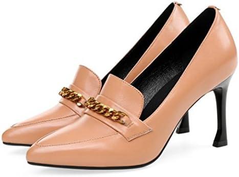 GAOLIXIA Señoras para Mujer de Cuero con Tacones Altos Four Seasons Zapatos de Trabajo de Negocios Tacones Altos...