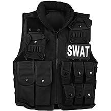 UniqueBella Chaleco de Combate Militar Táctico para Airsoft CS Game Cosplay Entrenamiento Formación Randonné Caza Chaqueta de Protección Camuflaje, Negro SWAT, Longitud: 55CM, Talla Medio para Adulto