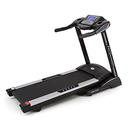 CAPITAL SPORTS Pacemaker X55 Laufband  Heimtrainer  mit Brustgurt  Geschwindigkeit: 2 - 22 km/h  Trainingscomputer  25 Programme  LCD-Display  Pulsmesser  Funk-Empfänger  1 % - 16 % Neigung  integrierte Lautsprecher  klappbar  schwarz