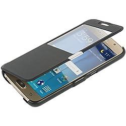 MTRONX pour S6 Coque, Galaxy S6 Coque, Fenetre Vue Ultra Slim Flip Magnetic Cuir Etui Housse Poche Cas Couverture pour Samsung Galaxy S6 - Noir(MW-BK)