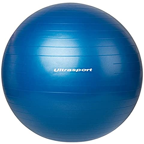 Ultrasport Fitnessball, vielseitig als Sitzball, Gymnastikball oder Pilatesball, aus robustem Material, mit Luftpumpe, Blau, 85 cm