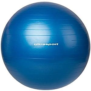 Ultrasport Fitnessball, vielseitig als Sitzball, Gymnastikball oder Pilatesball, aus robustem Material, in fünf Größen ca. 45 cm, 55 cm, 65 cm, 75 cm, 85 cm und zwei Farben rot und blau, mit Luftpumpe