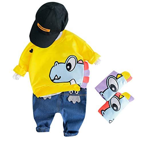 Baby Jungen Kleidung,TTLOVE Kleinkind Kinder Sweatshirt Dinosaurier Cartoon Pullover Lange Ärmel Tops+Lange Hosen Jeans Outfits Babykleidung Set(Gelb A,(90 cm,18-24 Monate)) -
