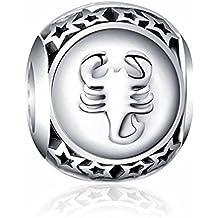 12 Charms del horóscopo en Plata de Ley 925 para pulseras para charms tipo Pandora, Chamilia, Biagi, Swarovski. Abalorios signos zodiaco plata