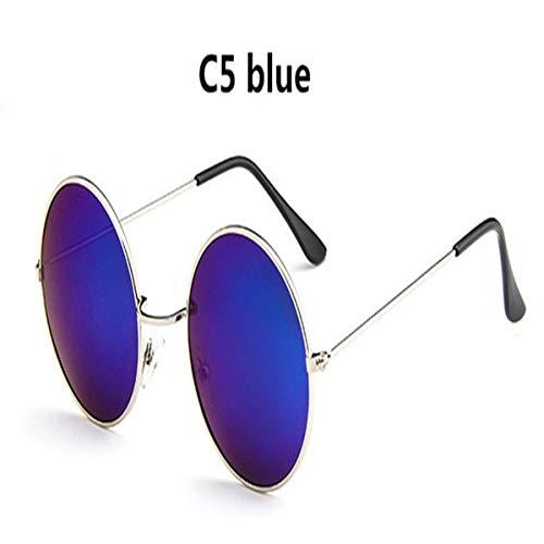 Sport-Sonnenbrillen, Vintage Sonnenbrillen, Oversized Retro Round Sunglasses Women Vintage Sun Glasses Female Eyewear Steampunk Mirror Oculos De Sol Blue