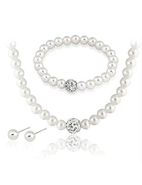Sarahmi® Hochzeits Set Perlen Kette und Ohrringe mit Strass Hochzeitsschmuck Ivory