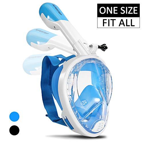 Supertrip Schnorchel Maske Unisex Vollgesichts-Schnorchel-Maske für Erwachsene Junge mit Abnehmbarer Kamerahalterung 180 ° Panoramablick Tauchmaske Anti-Fog Blau -