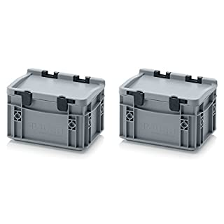 2x Eurobehälter-Eurobox 20 x 15 x 13,5 mit Scharnierdeckel inkl. gratis Zollstock, 2er Set