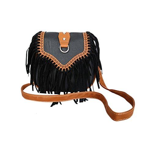 Damen Umhängetasche Sommer Ledertasche Schultertasche mit Fransen Fashion Shopper Tasche für Handy und Geldbeutel -