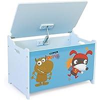 Preisvergleich für Homestyle4u 1765 Kinder Spielzeugtruhe Hund , Spielzeugkiste mit Deckel klappbar , Aufbewahrungsbox , Holz Blau