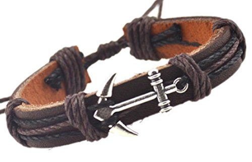 SaySure - Anchor Alloy Leather Bracelets Black Charm (Black Tortoise Charm)