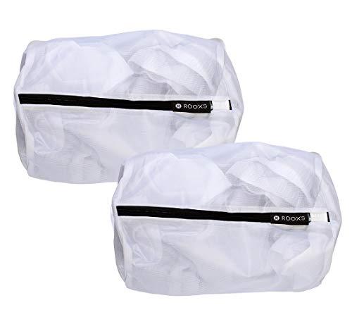 Rooxs Profi Wäschenetz Set (2 Teile) mit Reißverschluss für Waschmaschine und Trockner, Wäschenetze Feinmaschig, Wäschesack Faltbar, Waschsäcke ideal für Unterhosen, Unterwäsche und Socken -