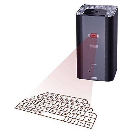 LEEHUR Bluetooth Laser Projektor virtuelle Tastatur mit Maus funktion Virtuelle Tastatur für Smartphone Tablet PC Laptop (Mit Lautsprecher, Schwarz)