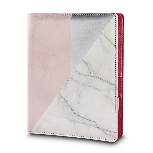 Rayher Hobby RAYHER Planer A5, Kreativer Terminkalender mit 3er Ringschiene und Register, Jahreskalender weiß/rosa mit Marmormuster