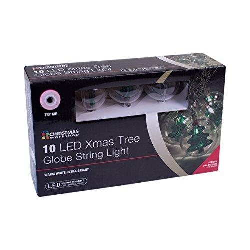 Christmas Workshop batteriebetrieben 10LED Weihnachten Bäume in Klar 5cm Weihnachtskugeln Ball Lichter, Kunststoff, transparent,