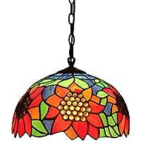 Gweat 12 pollici di lusso moderna epoca Girasole Tiffany lampadario luce del pendente Soggiorno Ristorante Veranda Sala Balcone Lampada
