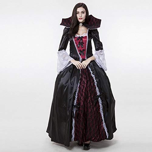 Vampir Kostüm Von Erwachsene Für Versailles - FHSIANN Damen Gothic Halloween Versailles Vampire Kostüm Dunkelschwarz Ganzkörperansicht Ballkleid Lace Kleid mit hohem Stehkragen für Frauen