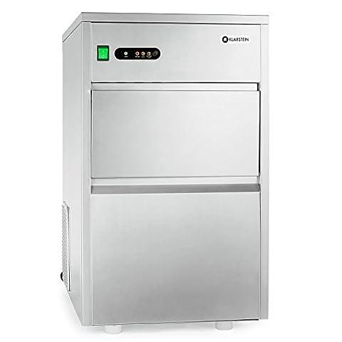Klarstein Eiswürfelmaschine Eiswürfelbereiter (Gastronomie, 25 kg Eiswürfel pro Tag, 7 kg Vorratsfach, geschmacksneutrale Auskleidung, Edelstahl)