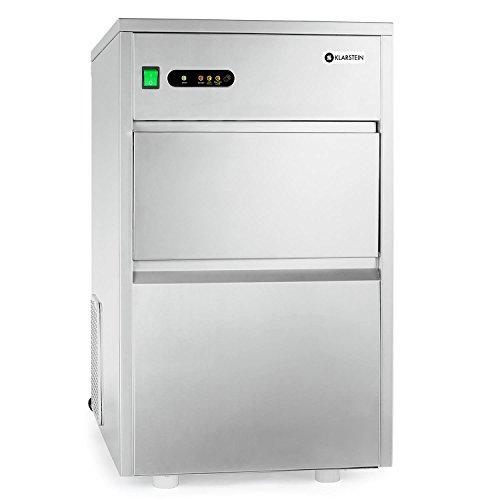 KLARSTEIN Powericer XXL Máquina industrial para hacer hielo • Fabricadora de cubitos de hielo • 25kg/24h • 160W • 6kg • Pala • Sistema de tubos • Revestimiento anti-olores • Plateado