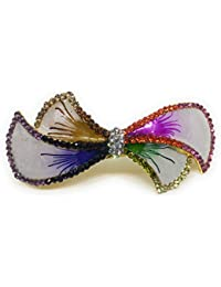 Khubsurat Hair Back-Pin / Hair Pin / Hair Clip With Multi Color Stone Stud With Multi Color Enameled, Gold Tone
