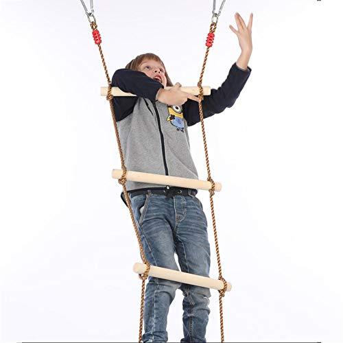 WYX Strickleiter, Kids Tree Swing - Massivholz Baumhaus Strickleiter mit Baumseilbefestigung , Holzsprossen Ideal für Klettergerüst, Baumhaus, Dens & Play House (Farbe : EIN, Größe : 6 Levels) (House Outdoor Tree Kits)