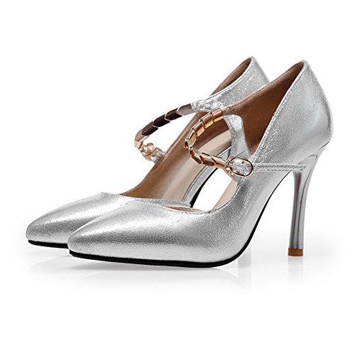 AgooLar Femme Pointu à Talon Haut Couleur Unie Matière Souple Boucle Chaussures Légeres Argent