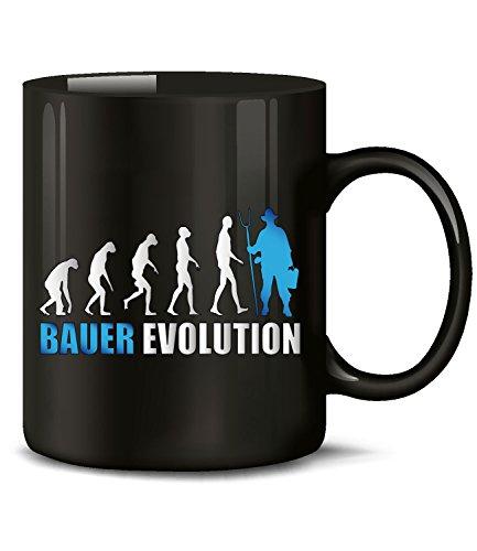 Golebros Landwirt Bauer Evolution 562 Fun Tasse Becher Kaffeetasse Kaffeebecher Schwarz-Blau