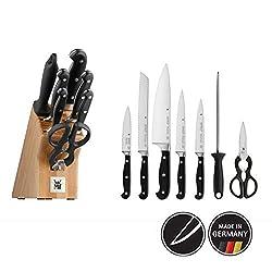 WMF Messerblock mit Messerset 8-teilig Spitzenklasse Plus 5 Messer geschmiedet Performance Cut, 1 Block aus Bambus, 1 Schere und 1 Wetzstahl