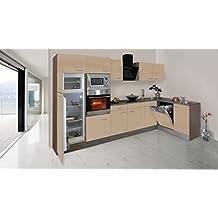 Respekta Economy L Form Winkel Küche Küchenzeile Eiche York Cappuccino  340x172cm