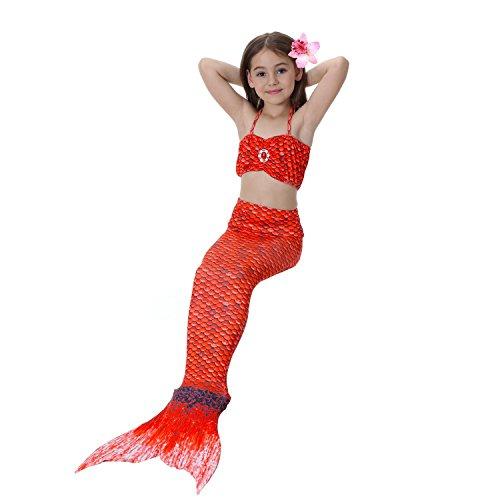 3 Teile/satz 10 Farben Meerjungfrau Schwanz Kostüm Prinzessin Ariel Kinder Meerjungfrau Schwanz Cosplay Kinder Für Mädchen Sommer Phantasie Badeanzug Cartoon Badeanzug, 52, 110