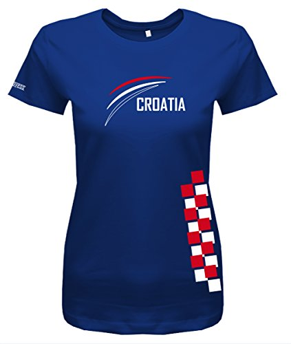 Jayess Croatia - Kroatien Fan Shirt - Damen T-Shirt in Royalblau by Gr. M
