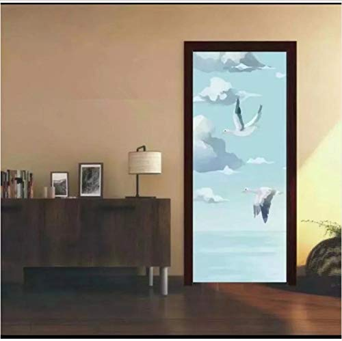 Preisvergleich Produktbild YS753 Seagull White Clouds Door Stickers for Living Room Bedroom Creative Vinyl Wallpaper Home Decor Adhesive Poster 77X200Cm