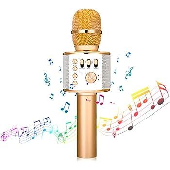 4 in 1 tragbarer Bluetooth-Handlautsprecher KTV-Heim-Player mit tanzenden LED-Lichtern Aufnahmefunktion f/ür Kinderpartysingen Kabelloses Karaoke-Mikrofon kompatibel mit Android und iOS-Ger/äten