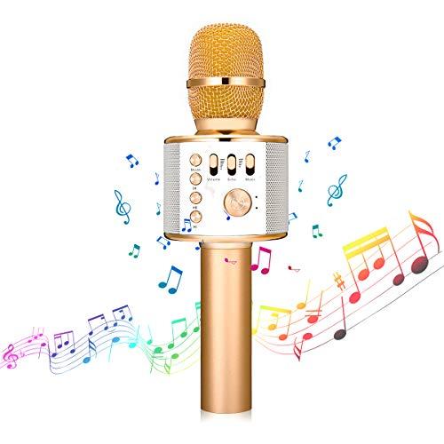 bluetooth Karaoke Mikrofon,NASUM,tragbar drahtlos dynamisch Mikrofon, 4.1 Lautsprecher für die Aufnahme von Sprach und Gesang,für Party,Podcast,Familie. kompatibel mit Android/IOS, PC