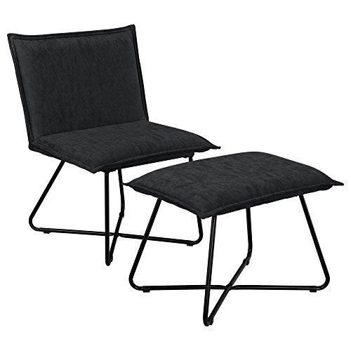 [en.casa] Stabiler Sessel mit Fußhocker im Set schwarz - Wildlederimitat - Eisengestell