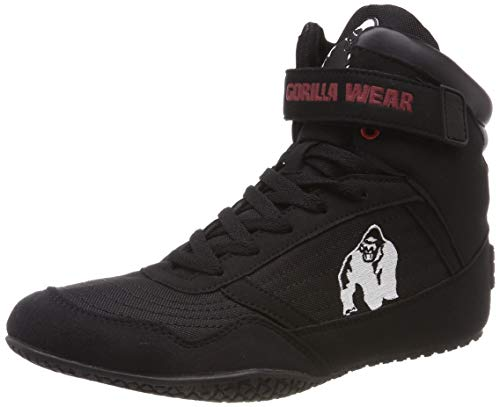 finest selection 59de4 da57b Gorilla Wear Bodybuilding Shoes High Tops Black and Red (Black, 44)
