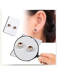 Dfsg ATUI Pendientes de botón Falsos Pendientes de Acero Inoxidable Pendientes de imán de Diamante sin Oreja Piercings cuelgan Piercings…