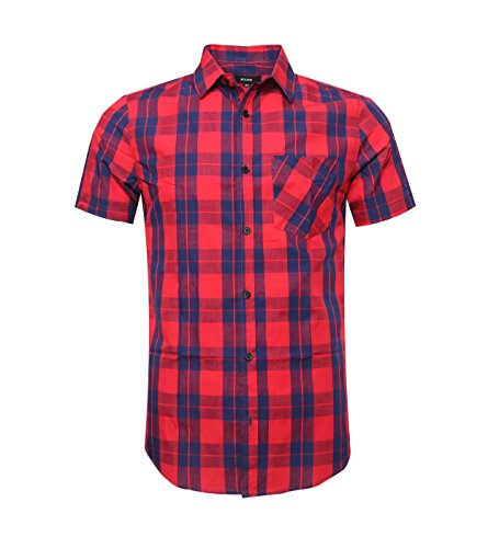 Nutexrol Herren Hemd Kurzarm Karo-Hemd 100% Baumwolle Figurbetontes Freizeithemd kariert, Rot&blau, L (Herren Hemd Karo Kurzarm)