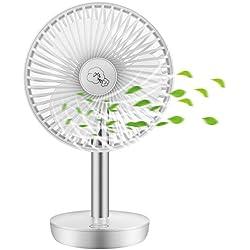 COMLIFE Ventilateur de Table | Ventilateur USB 3 Vitesses | Oscillation Automatique 90 °| 17,5 Heures au Maximum | Batterie 4400 mAh | Ventilateur Puissant et Silencieux (Blanc)