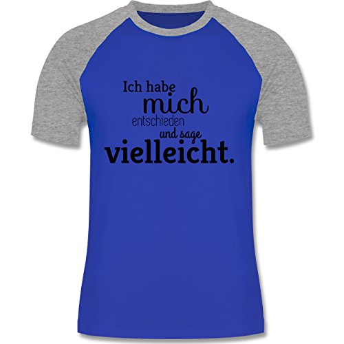 Statement Shirts - Ich habe mich entschieden und sage vielleicht - zweifarbiges Baseballshirt für Männer Royalblau/Grau meliert