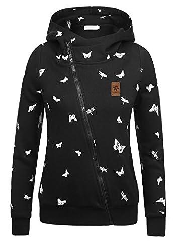 BAISHENGGT Women's Oblique Zip Up Pattern Print High Neck Pocket Hoodie Jacket Black Medium