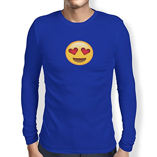 TEXLAB - Heart Eyes Emoji - Herren Langarm T-Shirt Marine